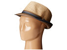SCALA Matte Raffia Braid Fedora with Strip Ribbon Band (Brown)