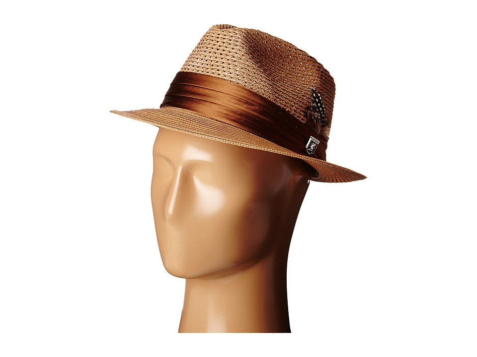 Stacy Adams Polybraid Pinch Front Fedora with Silk Band (Cognac) Fedora Hats