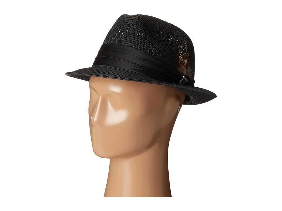 Stacy Adams - Polybraid Pinch Front Fedora with Silk Band (Black) Fedora Hats