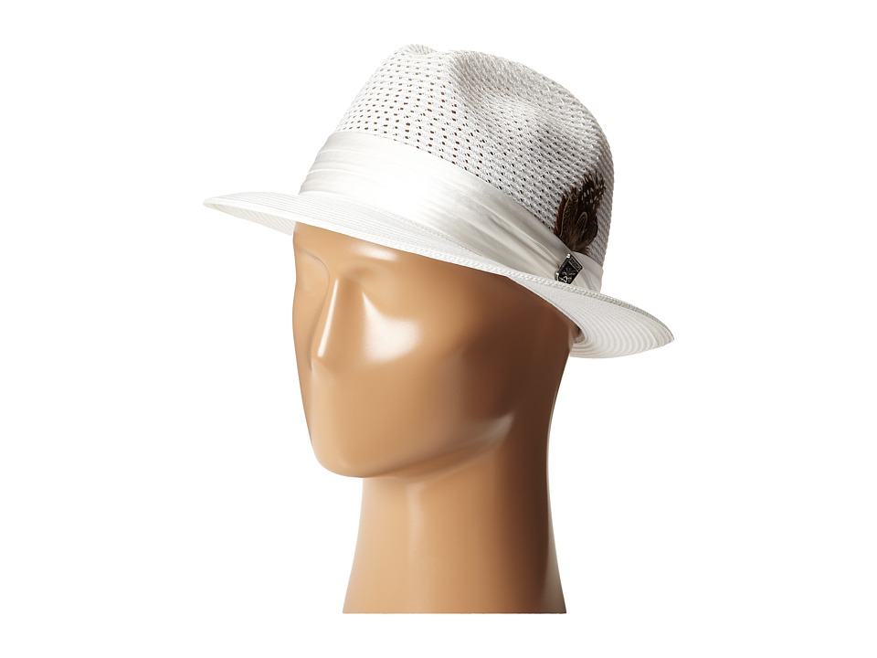 Stacy Adams Polybraid Pinch Front Fedora with Silk Band (...