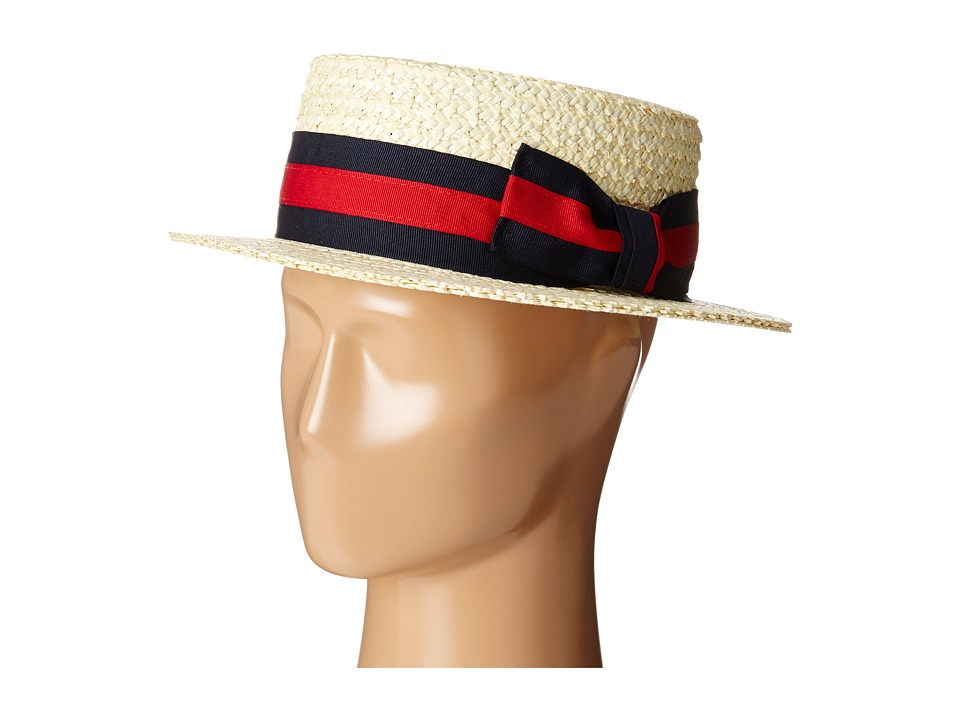 Men's Vintage Style Hats SCALA - Straw Boater with Two-Tone Stripe Grosgrain Ribbon Bleach Caps $60.00 AT vintagedancer.com