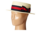 SCALA Straw Boater with Two-Tone Stripe Grosgrain Ribbon (Bleach)