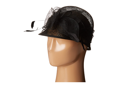 SCALA Sinamay Cloche with Bow and Feathers Trim - Black