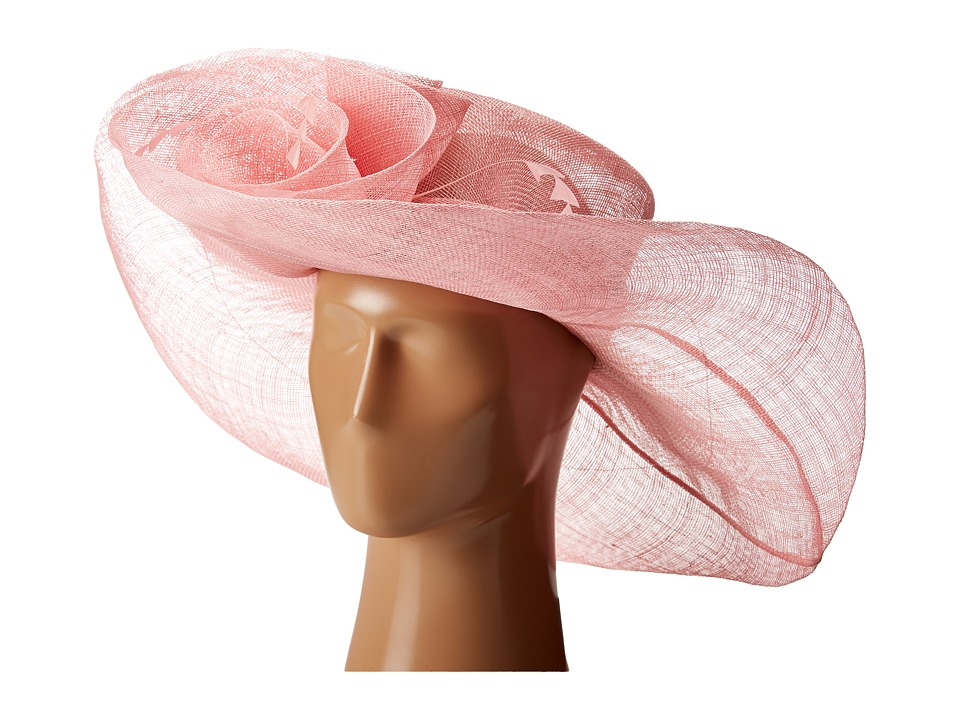 SCALA - Sinamay Split Brim with Flower and Feather Trim Pink Caps $75.00 AT vintagedancer.com