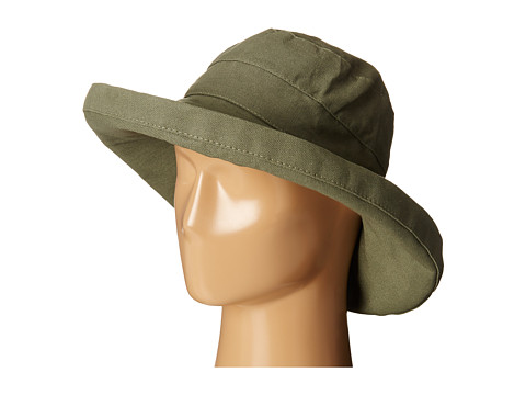 SCALA Cotton Big Brim Sun Hat with Inner Drawstring - Olive