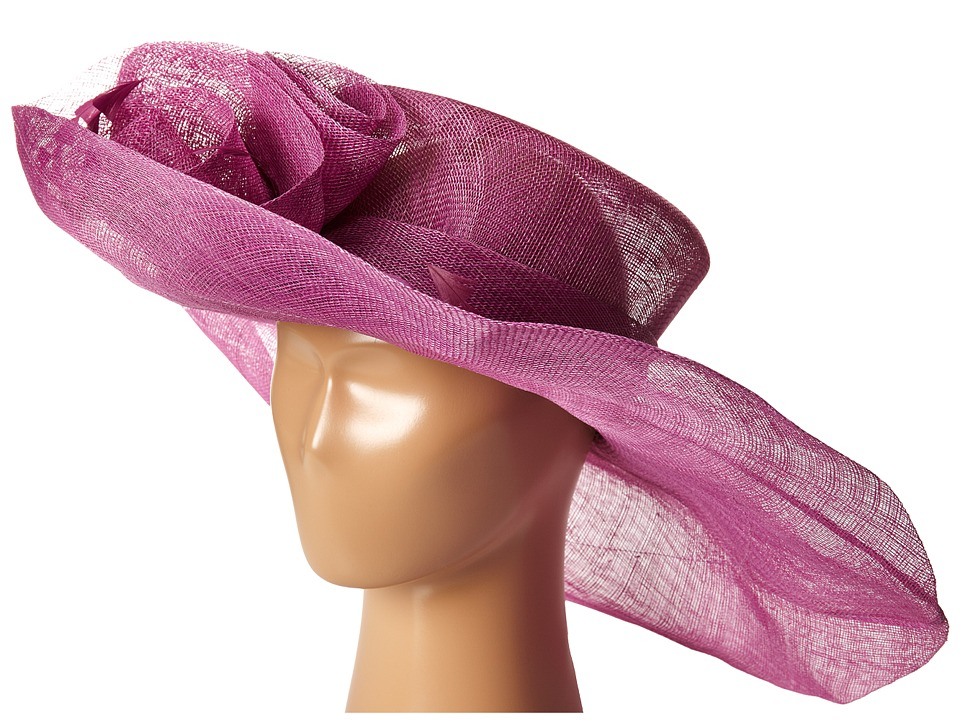 SCALA - Sinamay Split Brim with Flower and Feather Trim Orchid Caps $75.00 AT vintagedancer.com