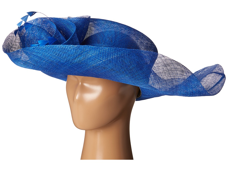 SCALA Sinamay Split Brim with Flower and Feather Trim Royal Caps