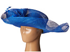 SCALA Sinamay Split Brim with Flower and Feather Trim (Royal)