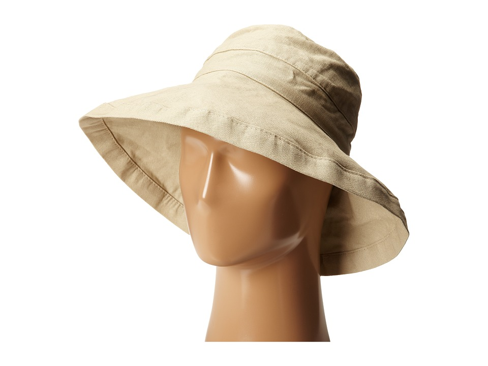 SCALA Cotton Big Brim Sun Hat with Inner Drawstring Taupe Caps