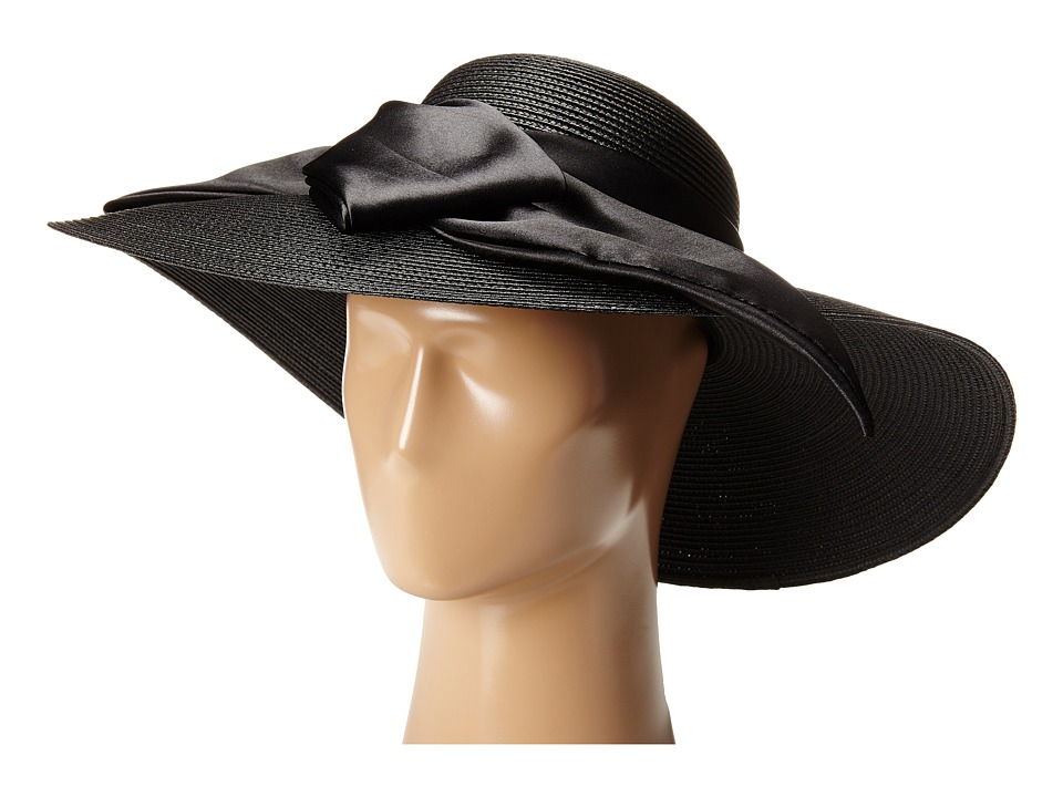 SCALA - Polybraid Big Brim Sun Hat with Satin Bow Black Caps $50.00 AT vintagedancer.com