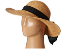 SCALA Big Brim Raffia with Linen Bow