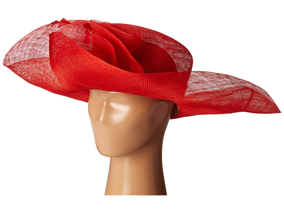 SCALA - Sinamay Split Brim with Flower and Feather Trim Red Caps $75.00 AT vintagedancer.com