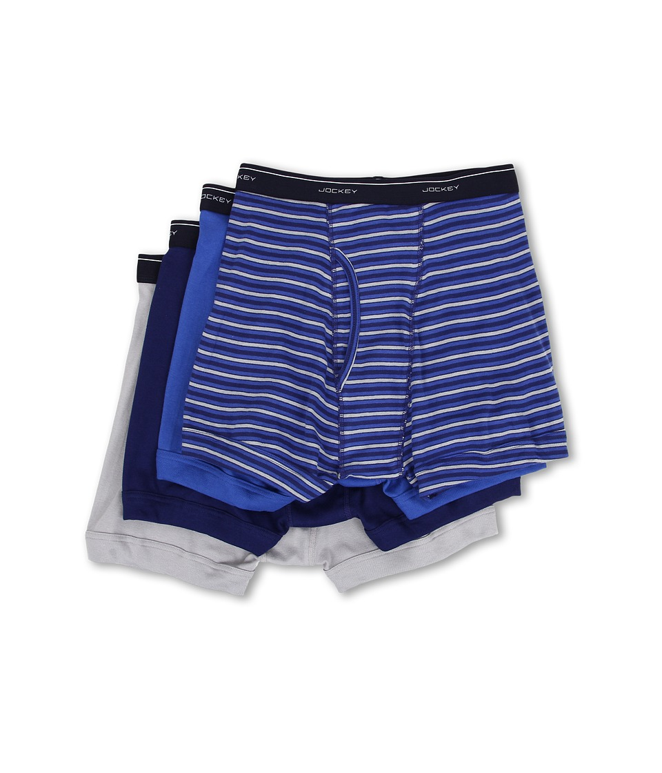 Jockey Cotton Full Rise Boxer Brief 4 Pack Intense Royal/Majestic Blue/Mid Grey Mens Underwear