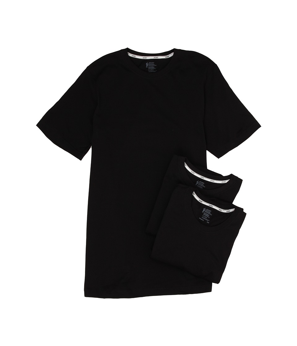 Jockey Cotton Slim Fit Crew Neck T Shirt 3 Pack Black Mens T Shirt