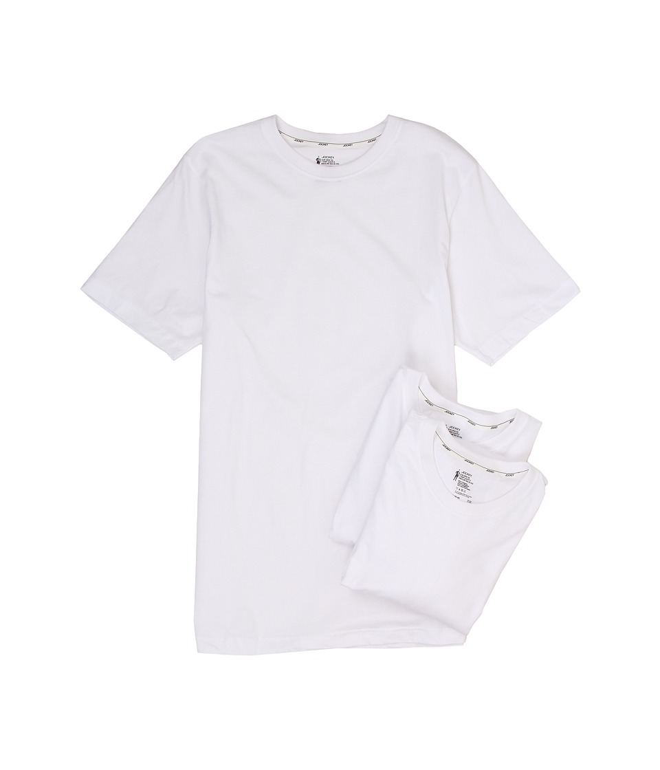Jockey Cotton Slim Fit Crew Neck T Shirt 3 Pack White Mens T Shirt