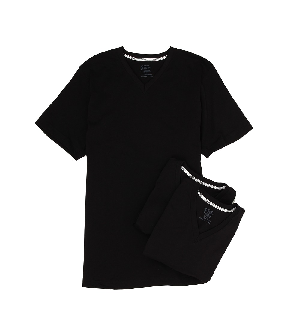 Jockey Cotton Slim Fit V Neck Neck T Shirt 3 Pack Black Mens T Shirt