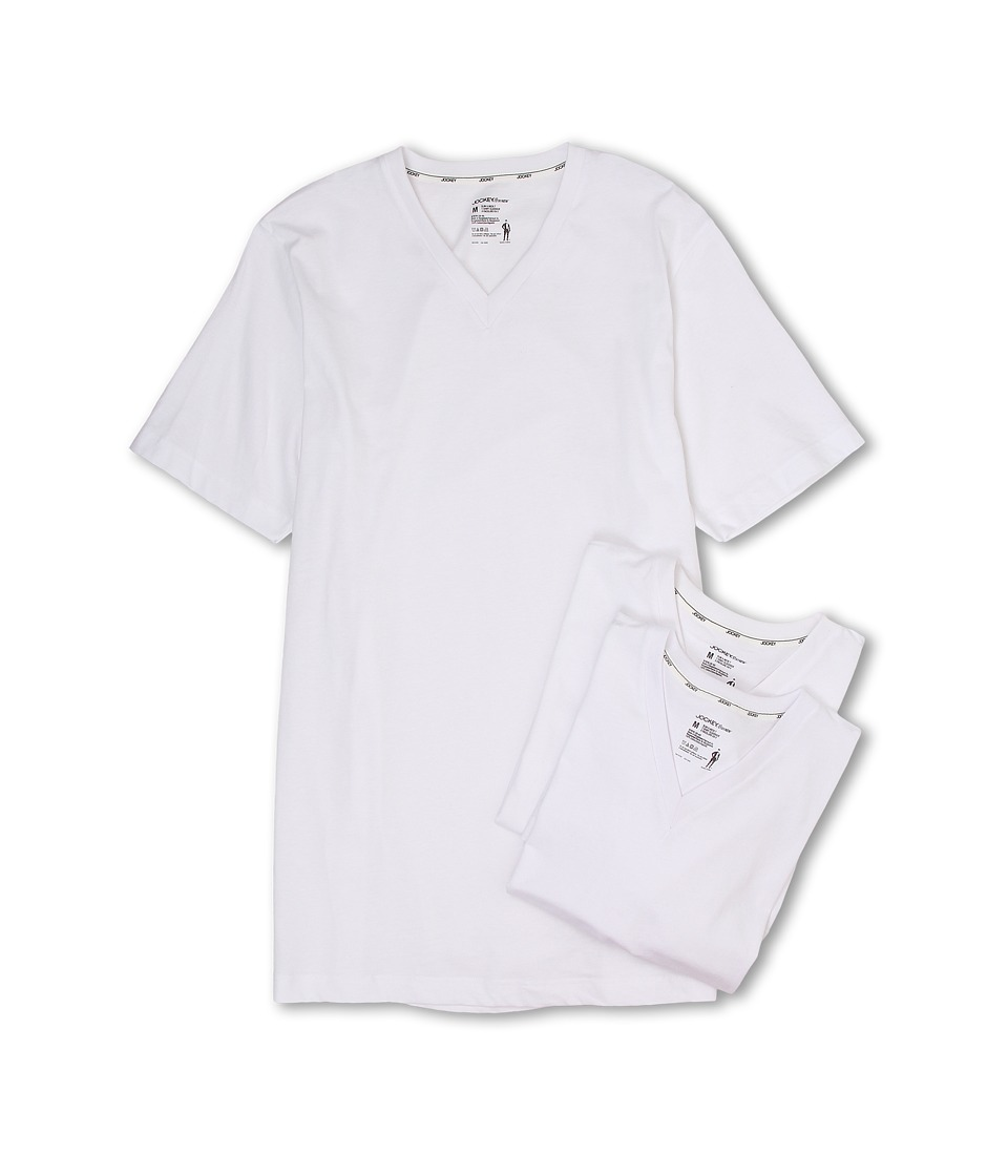 Jockey Cotton Slim Fit V Neck Neck T Shirt 3 Pack White Mens T Shirt
