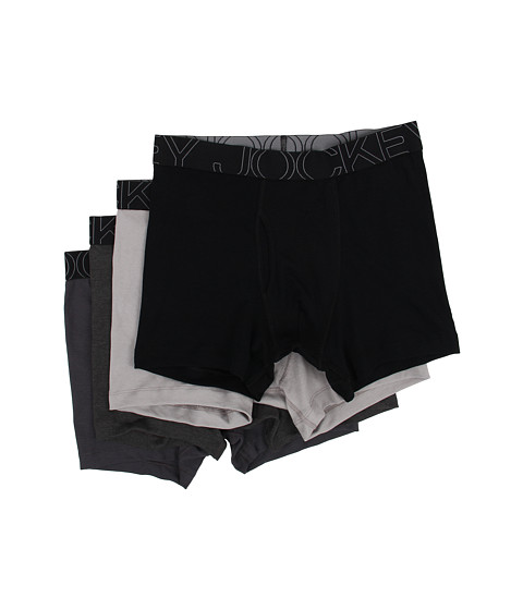 Jockey Active Blend Boxer Brief 4-Pack - Black/Trusted Pewter/Charcoal heather/Quartz Grey