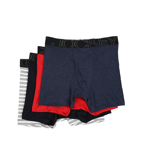 Jockey Active Blend Boxer Brief 4-Pack - Rough Blue/Racing Red/Navy Heather/Grey Stripe