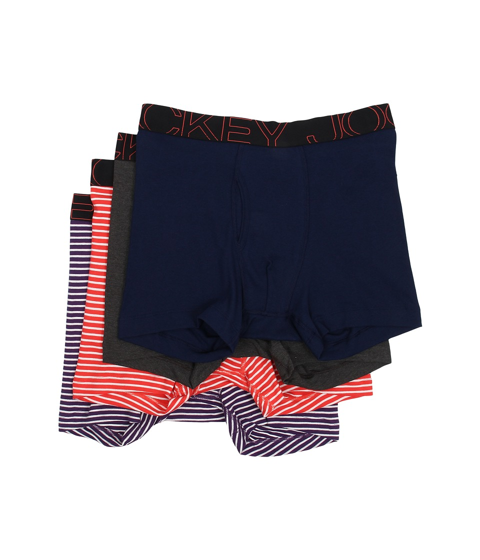 Jockey Active Blend Boxer Brief 4 Pack Indigo Dye/Charcoal Heather/Coral Stripe/Purple Stripe Mens Underwear