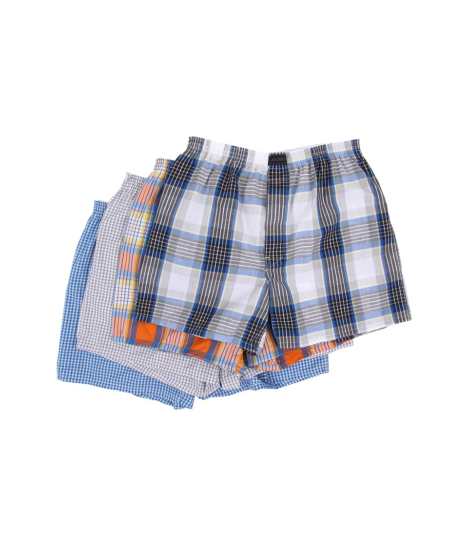 Jockey Active Blend Woven Boxer 4 Pack Neo Blue/Orange and Blue/Metal Grey/Blue and Yellow Mens Underwear