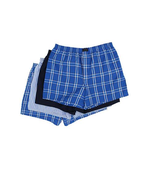 Jockey Active Blend Woven Boxer 4-Pack - Blue Plaid/Best Navy/Blue Stripe/Blue Plaid