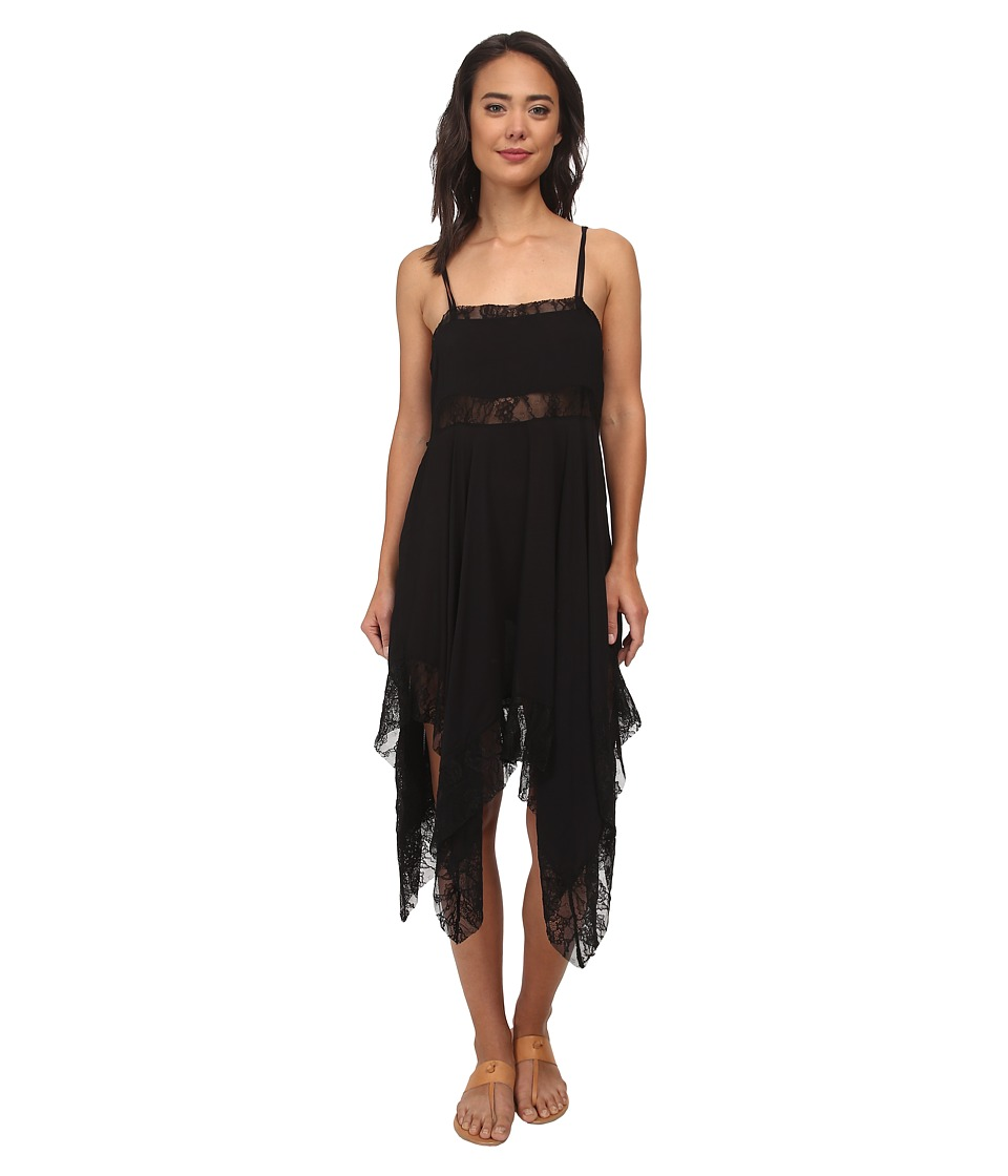 Free People - Dobby Dot Lace Pieced Trapeze Slip Black Womens Dress $88.00 AT vintagedancer.com