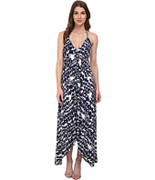 Tbags Los Angeles - Triangle Halter Scarf Hem Maxi Dress