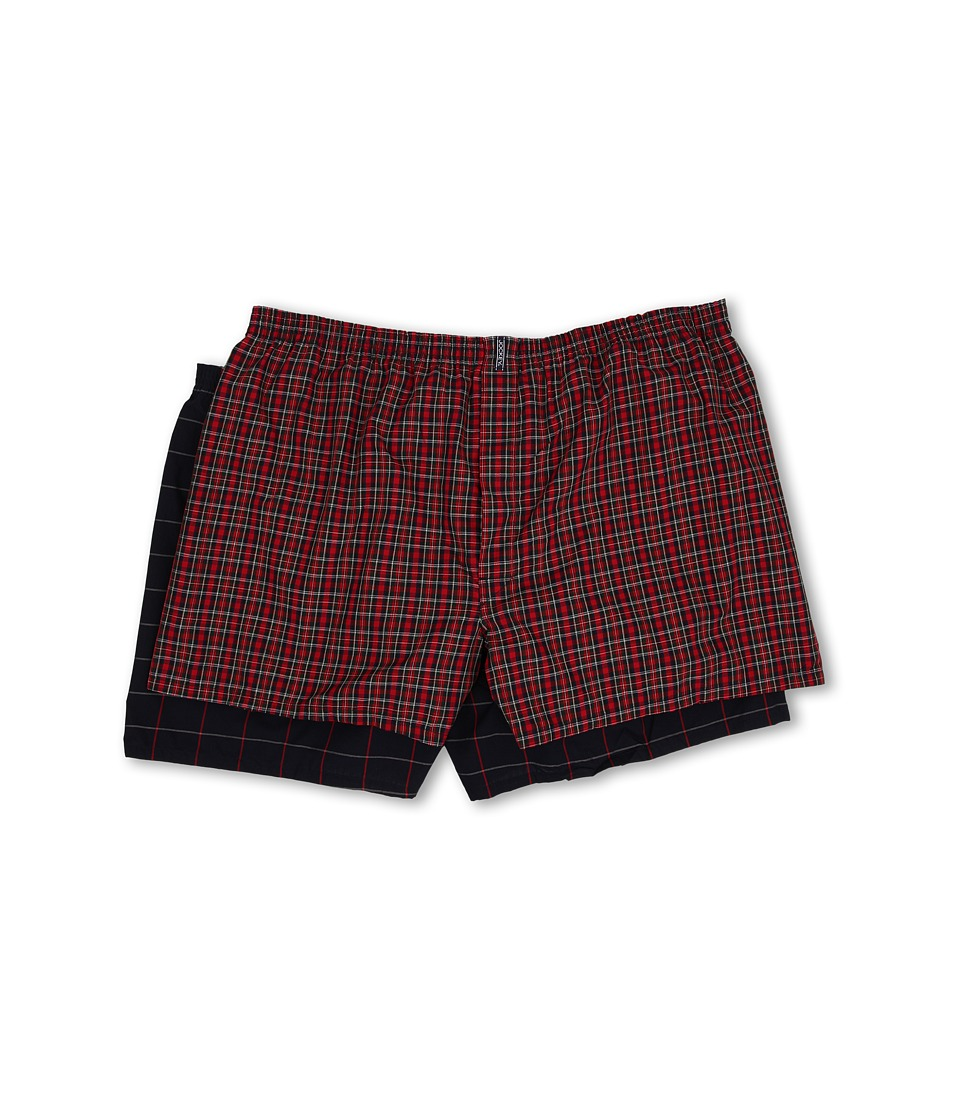 Jockey Big Man Classic Full Cut Blended Boxer 2 Pack Classic Red Tartan/Navy Windowpane Mens Underwear