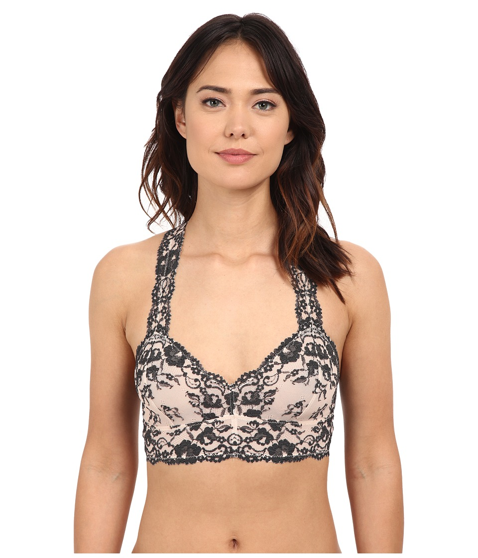Free People Cross Dye Galoon Lace Racerback Bra OB409418 Champagne/Black Combo Womens Bra