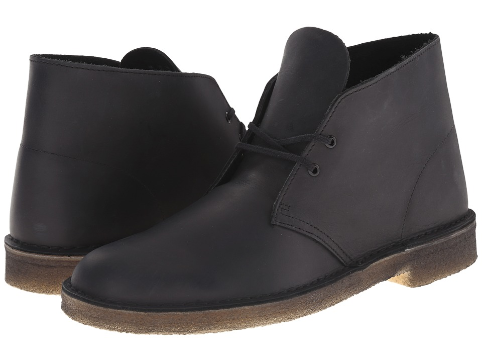 Clarks Desert Boot (Black Beeswax Leather) Men