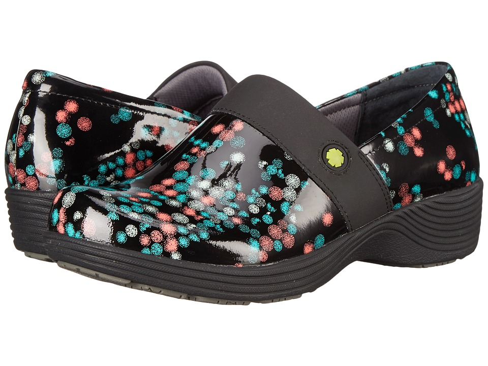 Work Wonders by Dansko Camellia Scatter Dot Patent Womens Clog Shoes
