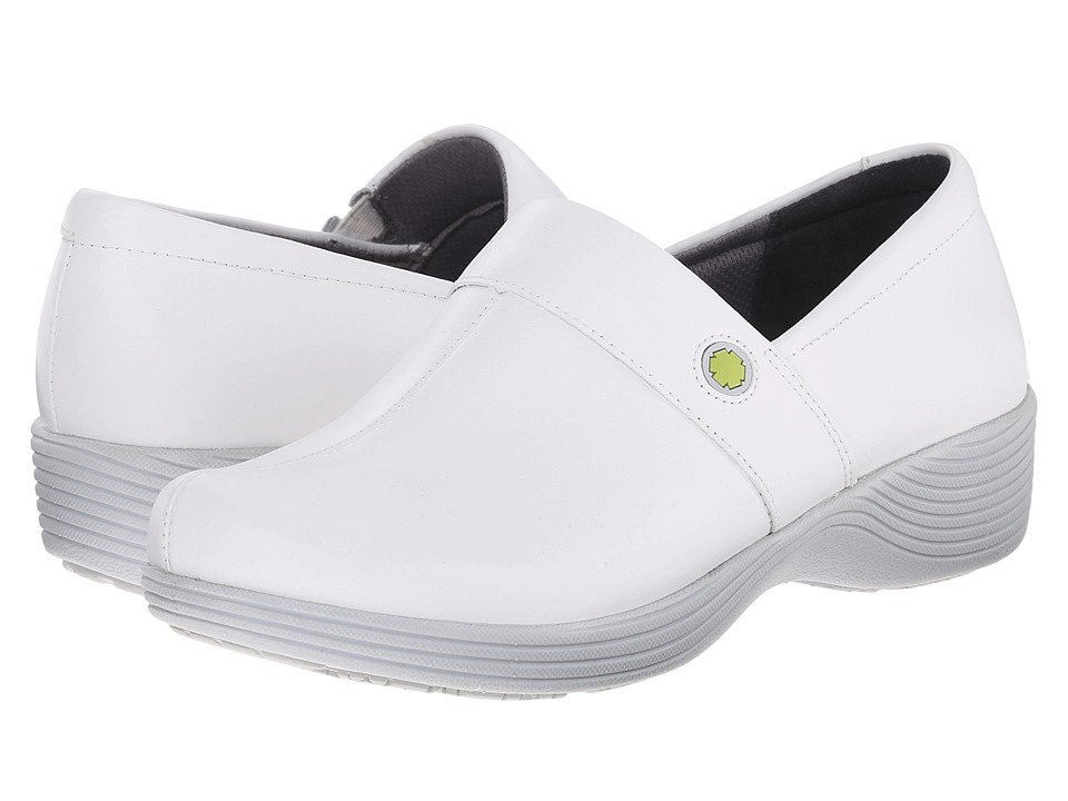 Work Wonders by Dansko Camellia White Leather Womens Clog Shoes