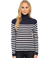 Lacoste - Long Sleeve Placement Stripe Wool Turtleneck Sweater