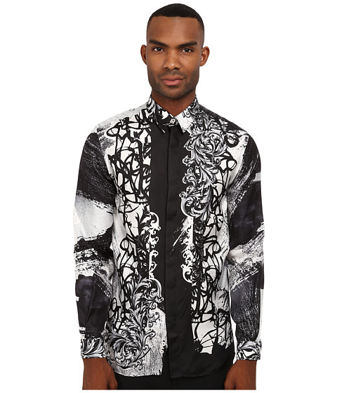 Black White Print Shirt by Versace Collection