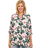 Vince Camuto Plus - Plus Size Tropical Rain Long Sleeve Jungle Lily Blouse w/ Roll Tabs