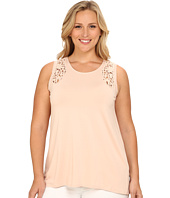 Vince Camuto Plus - Plus Size Moroccan Mirage Sleeveless Top w/ Crochet Lace Trim