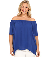 Vince Camuto Plus - Plus Size Moroccan Mirage Short Sleeve Off the Shoulder High-Low Hem Blouse