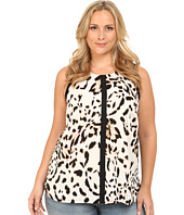 Vince Camuto Plus - Plus Size Serengeti Sleeveless Spotted Lynx Blouse w/ Solid Trim
