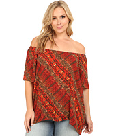 Vince Camuto Plus - Plus Size Serengeti Short Sleeve Maasai Tribal Off the Shoulder Peasant Top