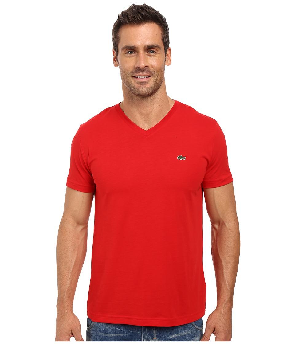 Lacoste - Short Sleeve V-Neck Pima Jersey Tee Shirt (Red) Men