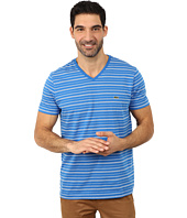 Lacoste - Short Sleeve Fine Stripe V-Neck Tee Shirt