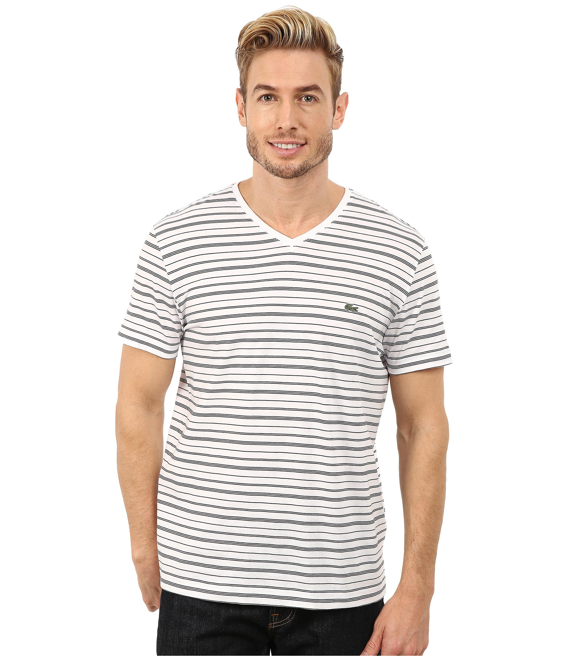 lacoste short sleeve fine stripe v neck tee shirt zappos. Black Bedroom Furniture Sets. Home Design Ideas