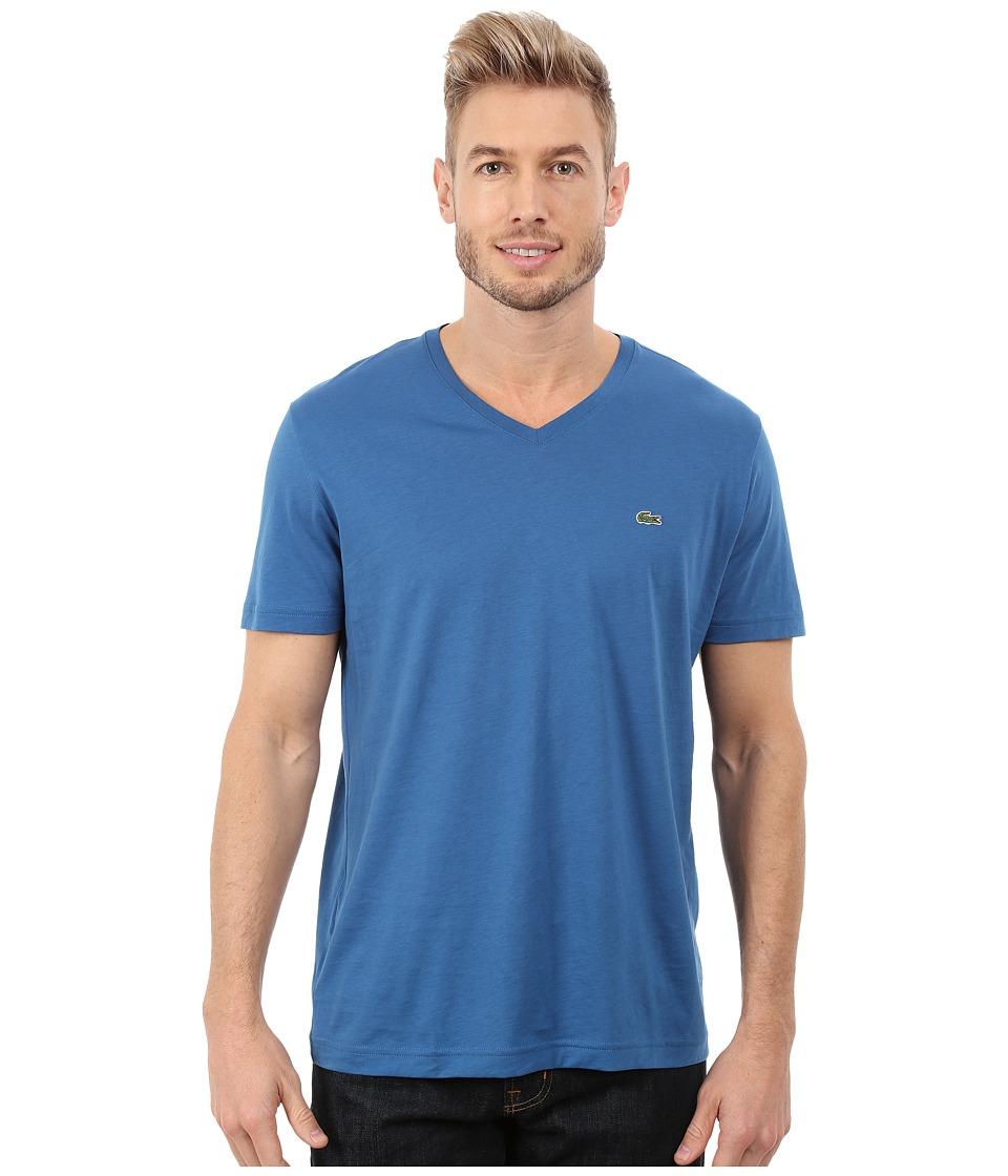 Lacoste - Short Sleeve V-Neck Pima Jersey Tee Shirt (Officer Blue) Men