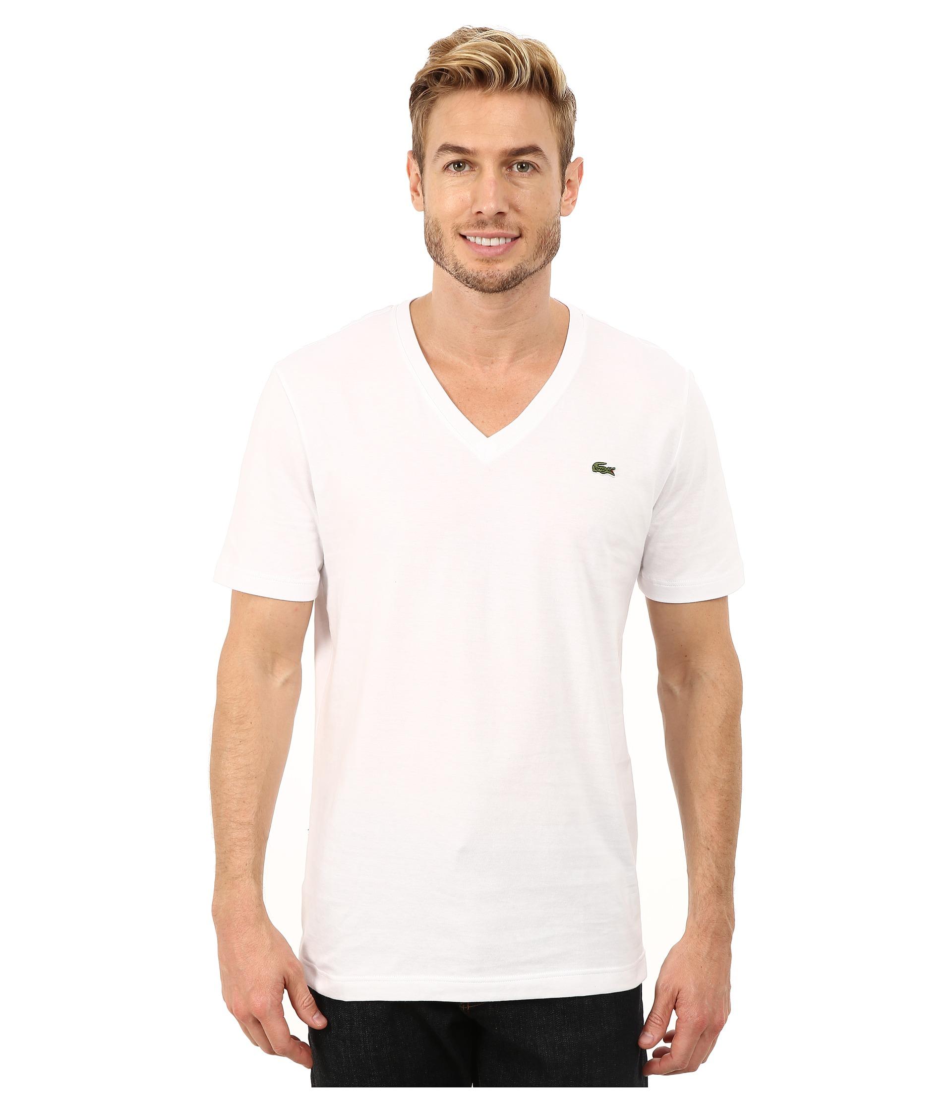 lacoste l ve short sleeve v neck tee shirt white zappos. Black Bedroom Furniture Sets. Home Design Ideas