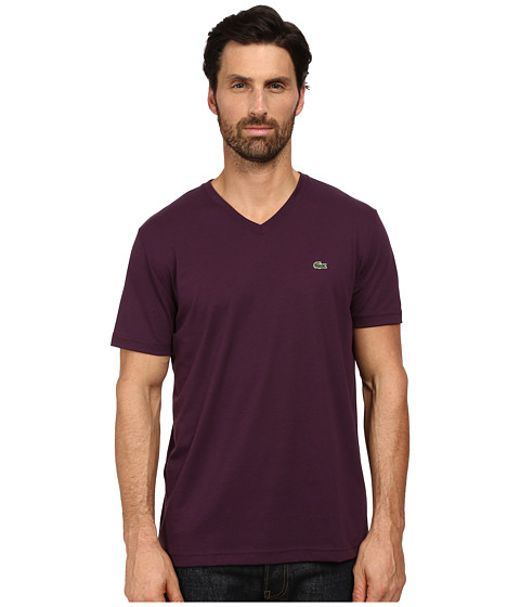 lacoste short sleeve v neck pima jersey tee shirt merlot. Black Bedroom Furniture Sets. Home Design Ideas