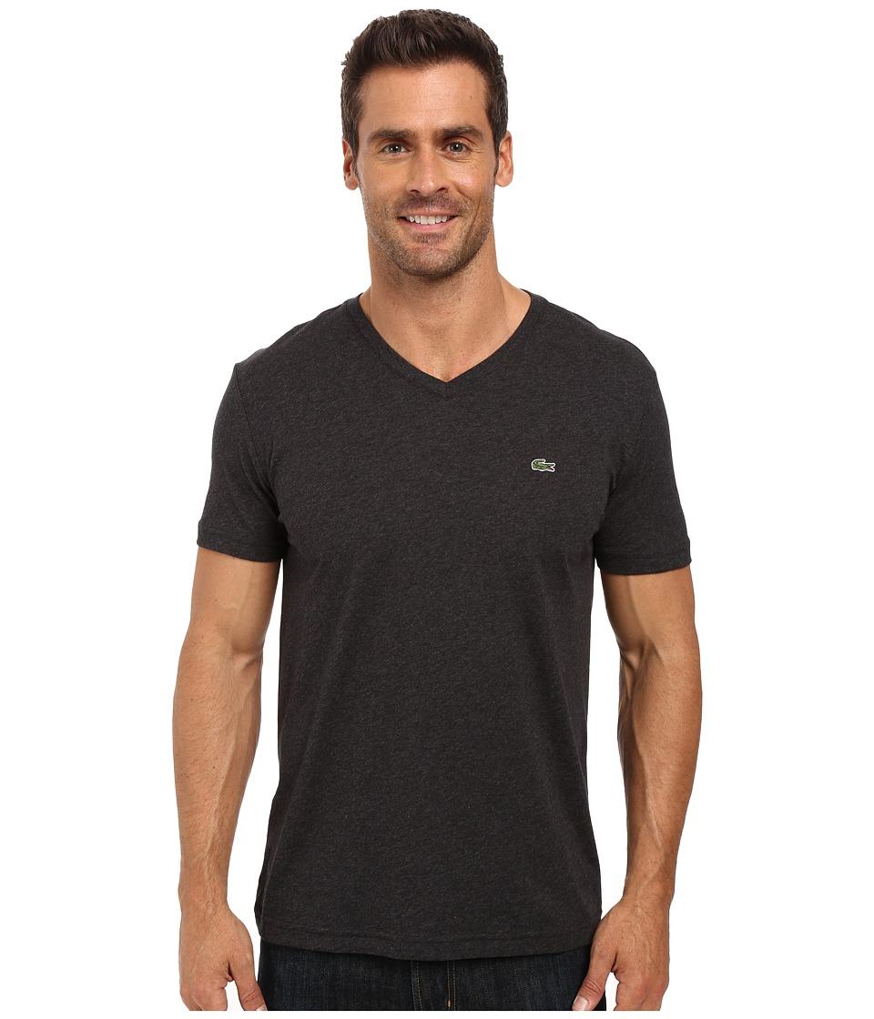 Lacoste - Short Sleeve V-Neck Pima Jersey Tee Shirt (Carthusian Chine) Men