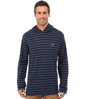 Lacoste - Long Sleeve Striped Waffle Hoody Tee Shirt with Contrast Lining