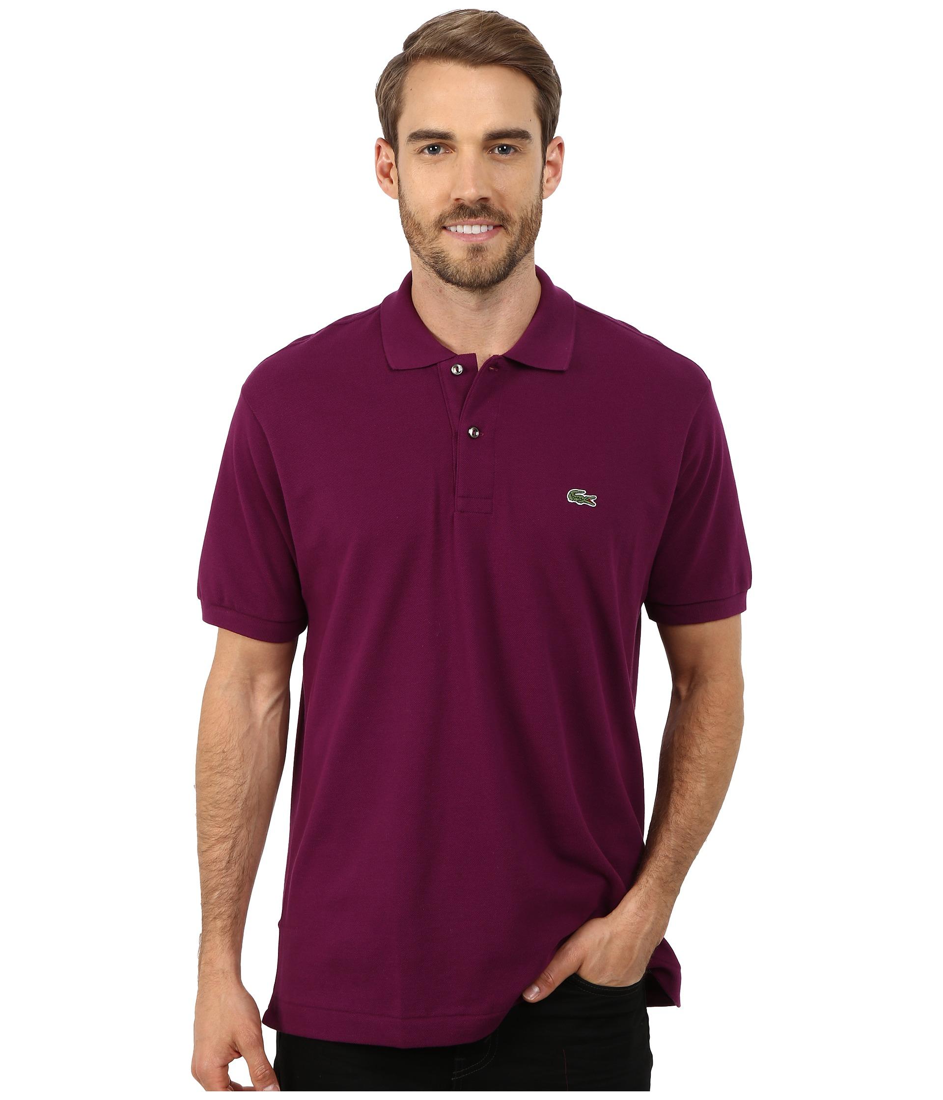 Lacoste l1212 classic pique polo shirt urchine purple for Lacoste size 4 polo shirt