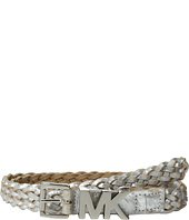 MICHAEL Michael Kors - 20mm Braided Leather Panel on MK Roller Buckle and Logo Loop Belt